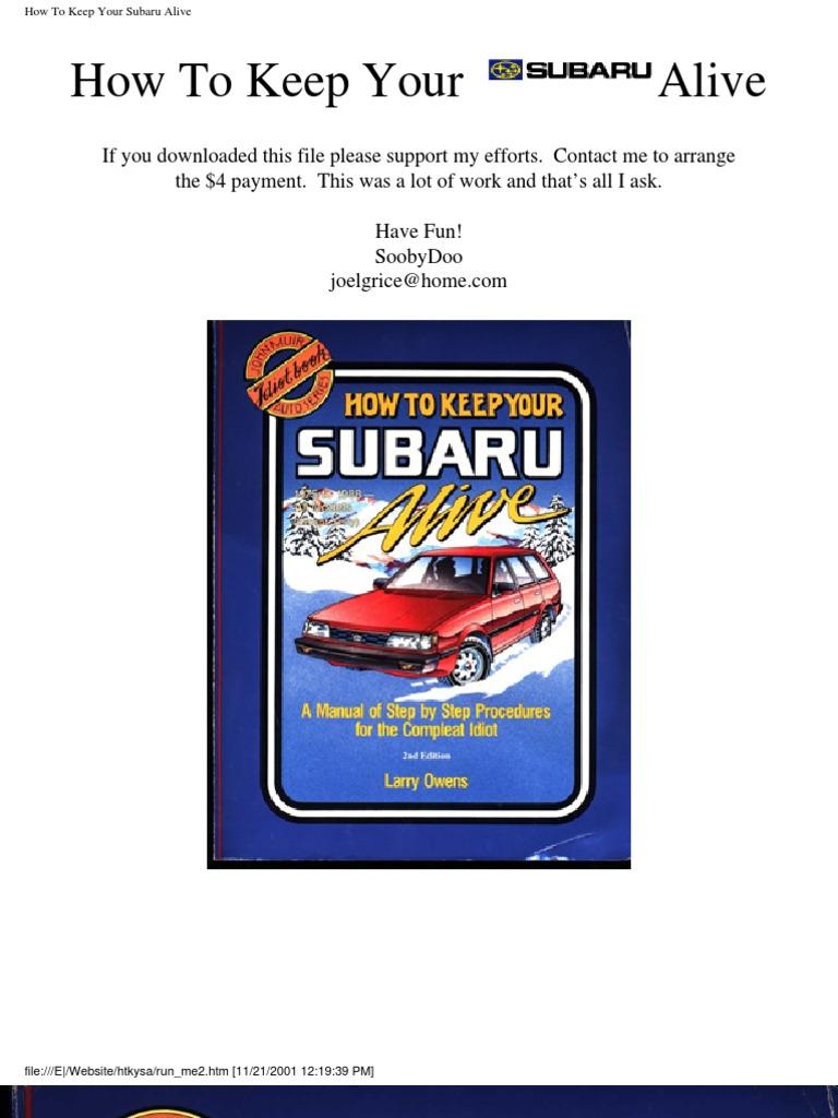 How to keep your subaru alive fuel injection distributor fandeluxe Gallery