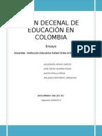 Plan Decenal de Educación en Colombia 2006 - Ensayo.