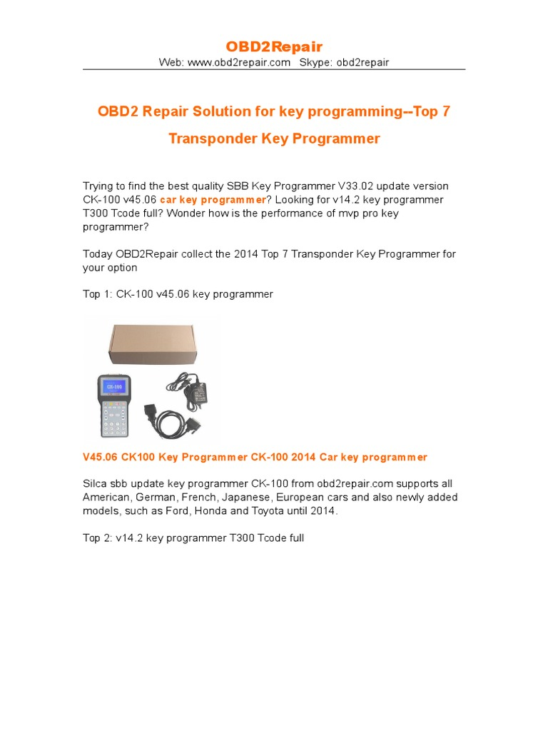 Obd2 Repair Solution For Key Programming Top 7 Transponder Key