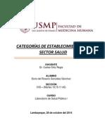 Categorías de Establecimientos de Sector Salud