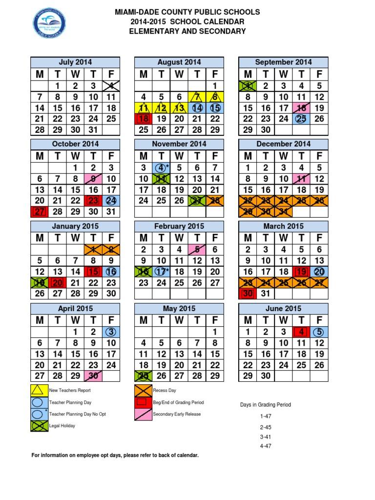 Dade School Calendar 2014 To 2015 Academic Term Schools
