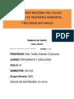 CURSO DE GEOLOGIA y TOPOGRAFIA UNAC - 2014