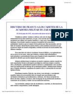 Discurso de Franco a Los Cadetes de La Academia Militar de Zaragoza