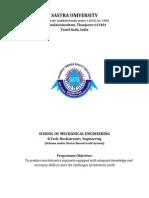 SASTRA University-B.tech Mechatronics Syllabus Sheet