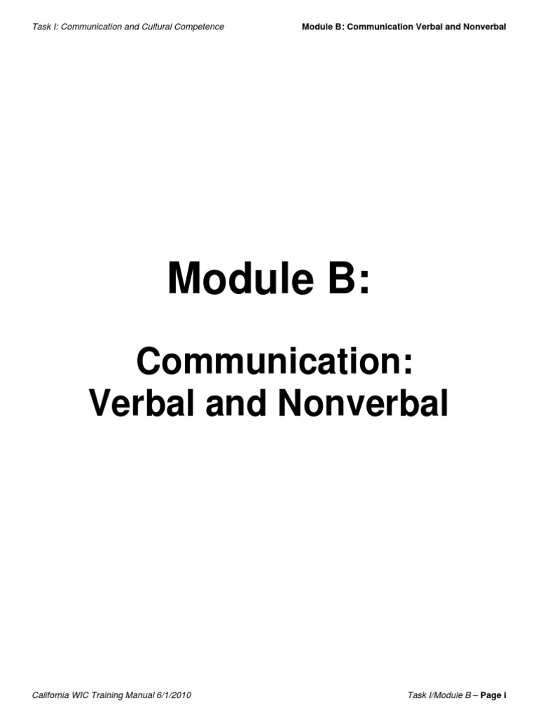 WIC-Training-TrainingManual-Task-01-Mod-B.pdf | Nonverbal Communication |  Body Language