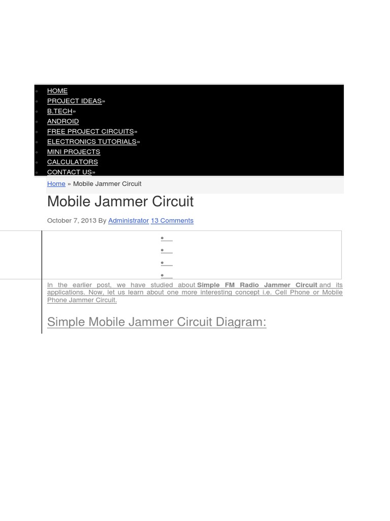 Mobile Jammer Circuit Diagram Pdf Fm Radio