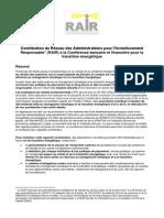 Contribution du RAIR Conférence Bancaire Et Financiere Pour La TEE Du 23 Juin 2014