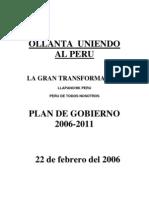 Plan de Gobierno - Partido Nacionalista Peruano - 2006