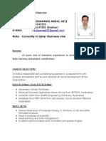 M.A. Aziz Resume (Qatar)