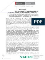ORGANIZACIONES INDÍGENAS SE PREPARAN PARA LA CONSULTA PREVIA DEL REGLAMENTO FORESTAL