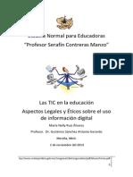"""Ensayo """"Aspectos Legales y Éticos sobre el uso de información digital"""""""
