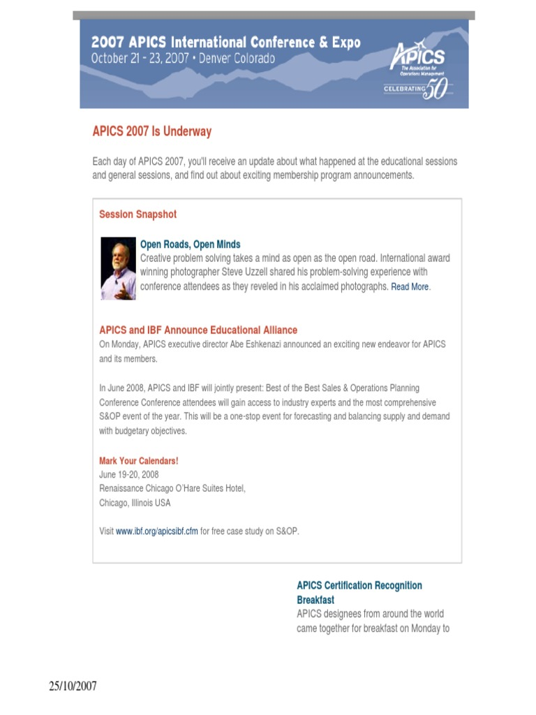 News update from apics 24102007 hewlett packard supply chain xflitez Choice Image