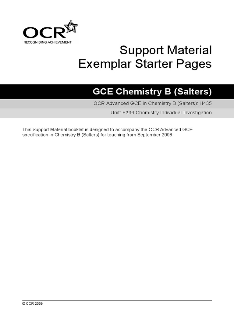Chemistry coursework on group II?