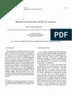 Survival of Escherichia Coli K12 in Seawater