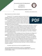 Declaracion SDeclaración oficial de la FUPI ante la desaparición de estudiantes en México  Puerto Rico, 22 de octubre de 2014.obre Situacion de Estudiantes Mexicanos