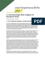 La Fenomenologia Della Religione Di Bernhard Welte