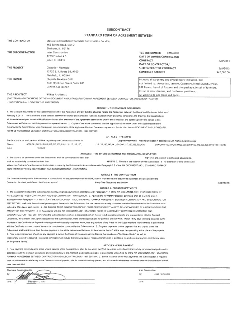 Subcontract general contractor insurance falaconquin