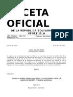 ORGANIZACION Y FUNCIONAMIENTO DE LA ADMINISTRACION PUBLICA NACIONAL, DECRETO SOBRE.doc