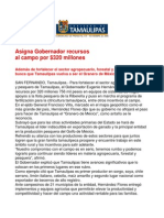 com0970 221106 Asigna Gobernador Eugenio Hernández recursos al campo por $320 millones