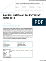 Aakash National Talent Hunt Exam 2014 - AESPL