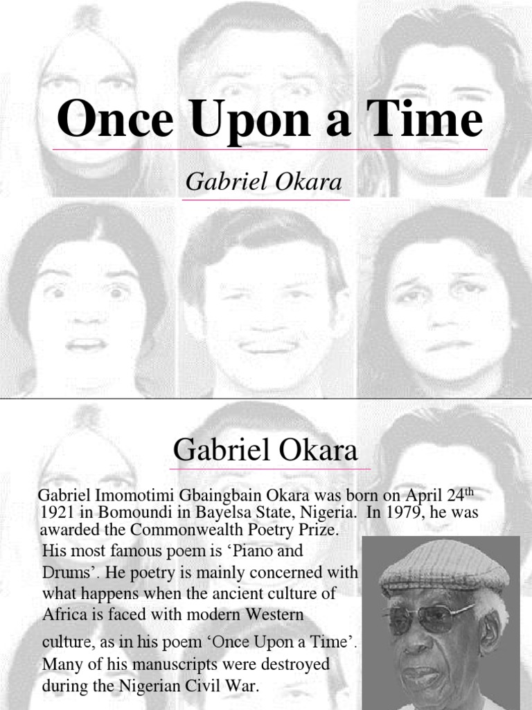 piano and drums gabriel okara Gabriel okara topic gabriel imomotimi okara (born 24 april 1921) is a nigerian poet and novelist who was born in bumoundi in yenagoa , bayelsa state , nigeria  piano and drums  is a postcolonial poem by nigerian poet gabriel okara.