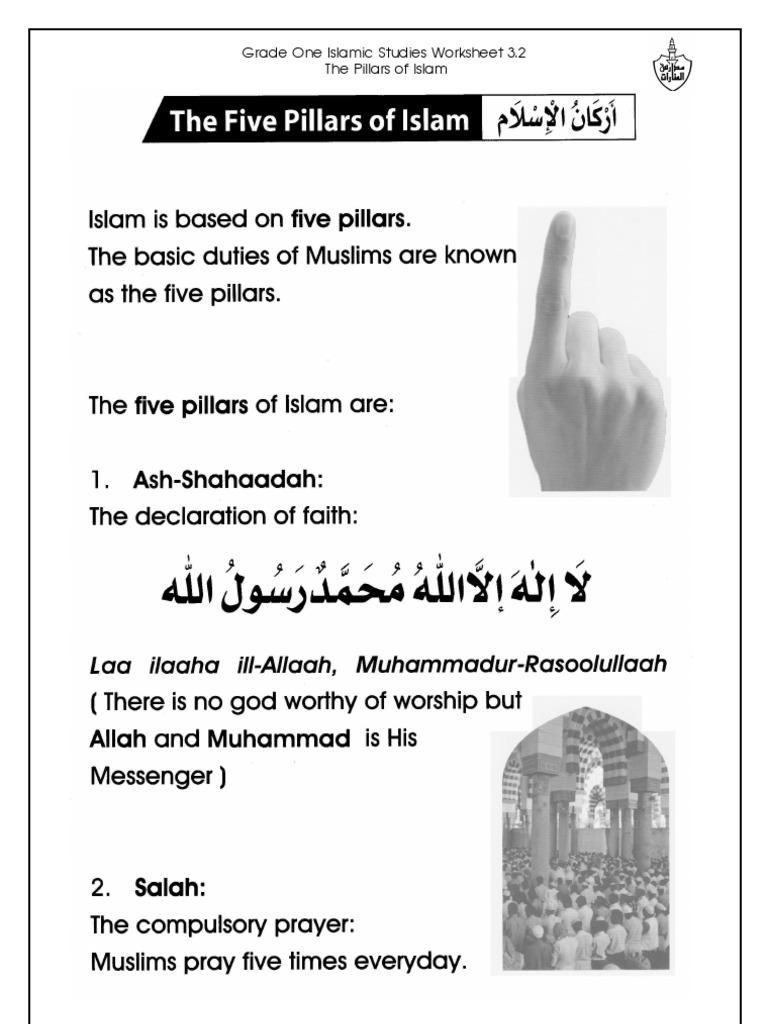 worksheet Five Pillars Of Islam Worksheet grade 1 islamic studies worksheet 3 2 the five pillars of islam