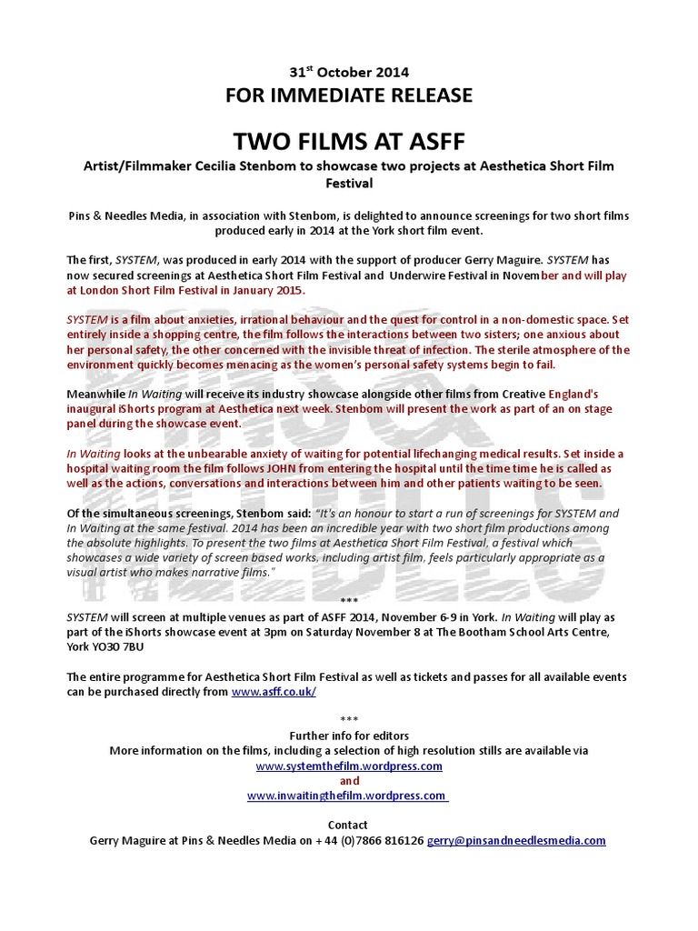 Press Release_Two Films at Asff | Anxiety | Leisure
