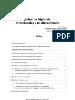 Sobre Las Hipotesis Direccionales y No Direccionales Pedro Morales, 2009