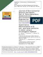 Quantitative Determination of E. Coli, And Fecal Coliforms in Water Using A