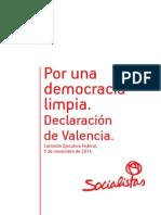 Declaración de Valencia del PSOE, sobre corrupción y regeneración democrática (PDF)