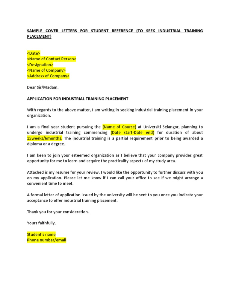 Example of application for industrial training placement for Sample cover letter for student placement