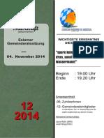 Eslarner Gemeinderatssitzungen - Mitschrift vom 04.11.2014
