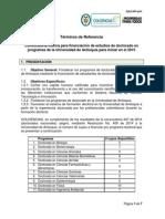 Términos de Referencia - Convocatoria Interna para financiación de estudios de doctorado en programas de la Universidad de Antioquia para iniciar en el 2015