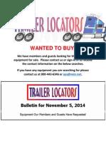 Wanted to Buy Bulletin November 5, 2015