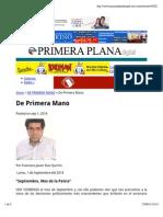 01-09-14 De Primera Mano - Columna Ruiz Quirrin