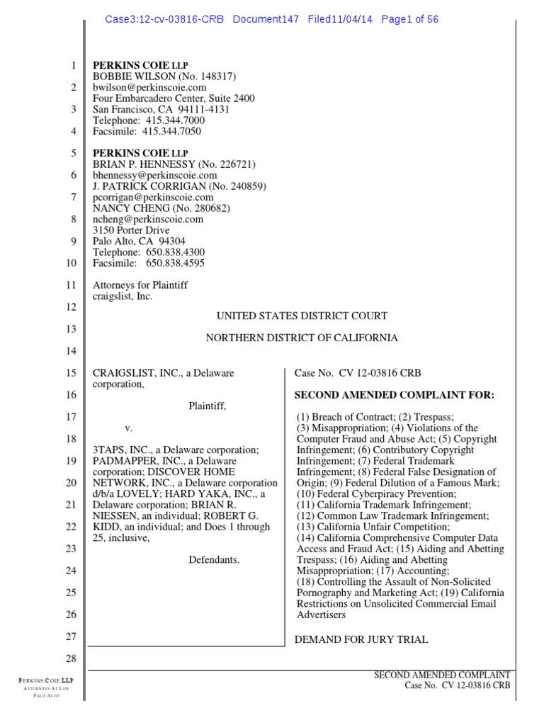 Craigslist v  3Taps - second amended complaint pdf   Craigslist