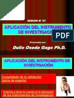 SESION N° 07 - APLICACIÓN  DEL INSTRUMENTO DE INVESTIGACIÓN