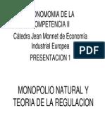 Monopolio Natural y Teoria de La Regulacion