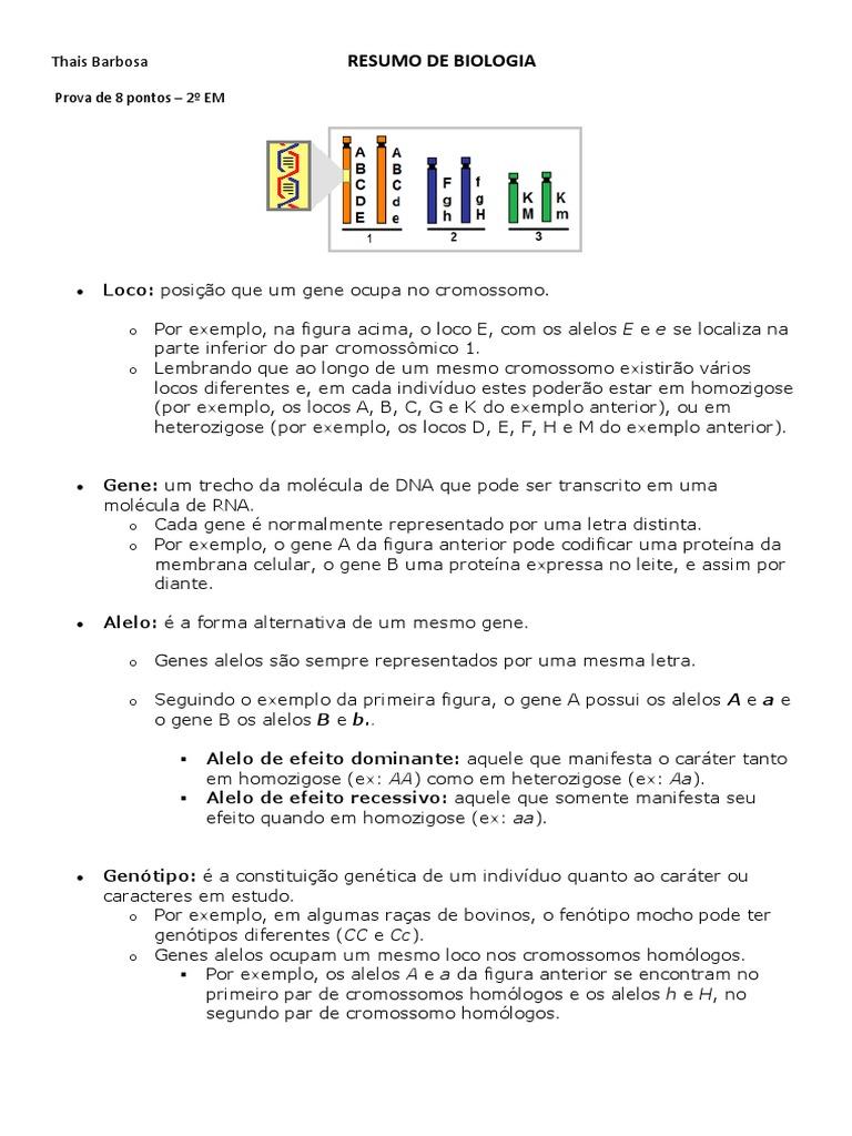 Resumo Biologia - GENETICA 125d082396