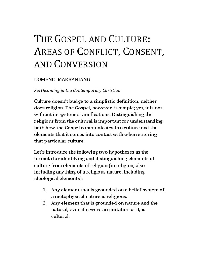 the gospel and culture | religious conversion | jesus