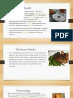 historia, características y técnicas de cocina de las recetas Clam Chowder, Blackened Chicken, Onion Rings, Coleslaw