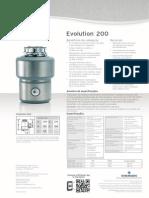 Triturador de resíduos alimentares InSinkErator modelo Evolution 200
