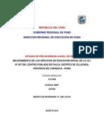 Pip Mejoramiento Servicios de Educacion Inicial Iei Palca