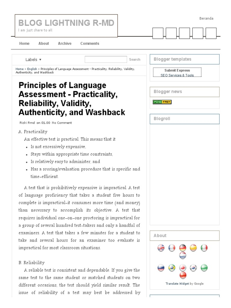 Principles of language assessment practicality reliability principles of language assessment practicality reliability validity authenticity and washback blog lightning r mdpdf validity statistics fandeluxe Gallery
