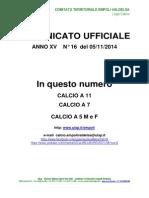 C.U. N.16 DEL 05.11.2014