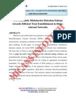A Probabilistic Misbehavior Detection Scheme Towards Efficient Trust Establishment in Delay Tolerant Networks - IEEE PROJECT 2014 - 2015