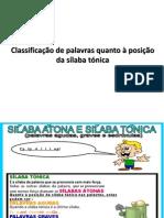 Classificação de palavras quanto à posição da sílaba tónica