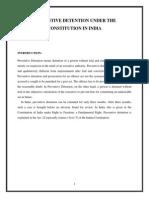 Preventive Detention Under the Constitution in India