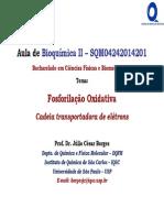 Aula06 BioqII-CFBio FosforilaçãoOxidativa CTE