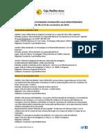 Agenda de Actividades Destacadas. Del 6 al 23 de noviembre 2014. Fundación Caja Mediterráneo
